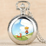 """Classic"" The Little Prince Movie Planet Blue Bronze Vintage Quartz Pocket FOB Watch Popular Gifts for Boys Girls Kids"