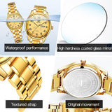 OLEVS Gold Casual Sport Couple Watch Week Display Autodate Stainless Steel Women Watches Waterproof Clock Relogio