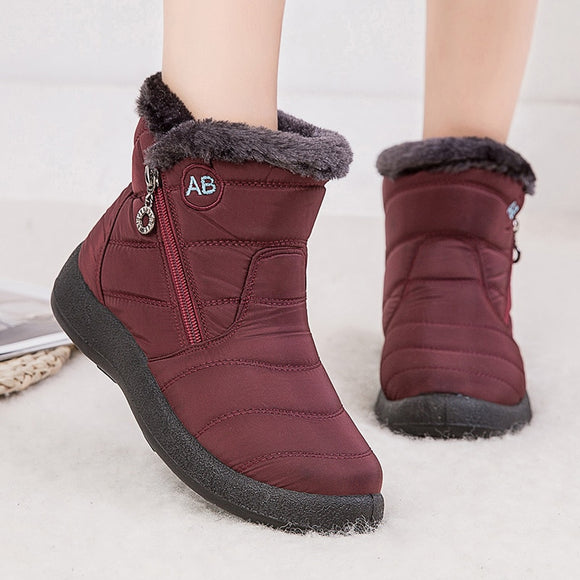 Women Casual Lightweight Fashion Waterproof Snow Ankle Warm Winter Boots Botas Mujer
