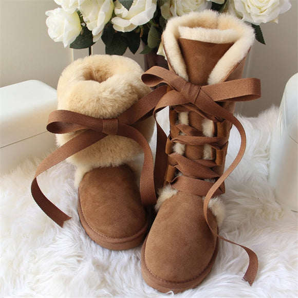 High Snow Boots Genuine Sheepskin Real Fur 100% Wool Women Winter Snow Boots New Brand Boots