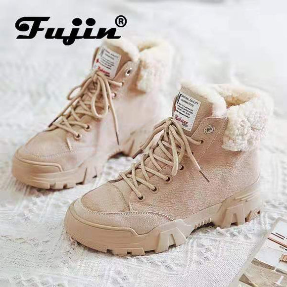 Fujin Women Snow Boots Beige Plush Warm Fur Casual Boots Shoes Sneakers Ankle Booties Platform Thick Sole Lace-Up Winter Shoes
