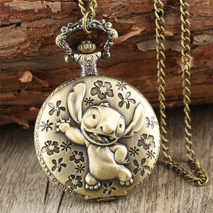 Bronze Pocket Watch for Children Pendant Necklace Chain Quartz Pocket Clock Gifts for Boys Girls