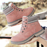 JOKIHA Ankle Boots Women Winter PU Leather Plush Warm Waterproof Short Motorcycle Boots Women's Shoes Booties