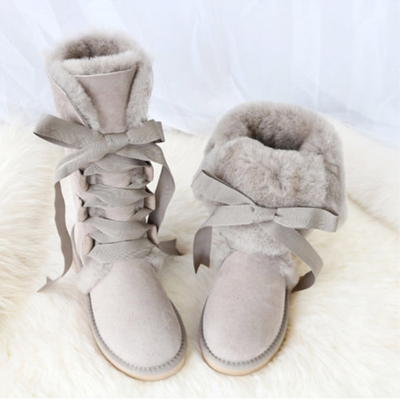 Knee-high Genuine Sheepskin Leather Snow Boots Australia G Boots Lace Wool Boot Sheep Fur Women Winter Warm Flat Shoes