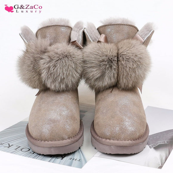 G&Zaco Luxury Women Sheep Wool Boots Genuine Leather Ball Fox Fur Snow Boots Shoes Cowskin Sheep Fur Boots Flat Warm Winter Shoes
