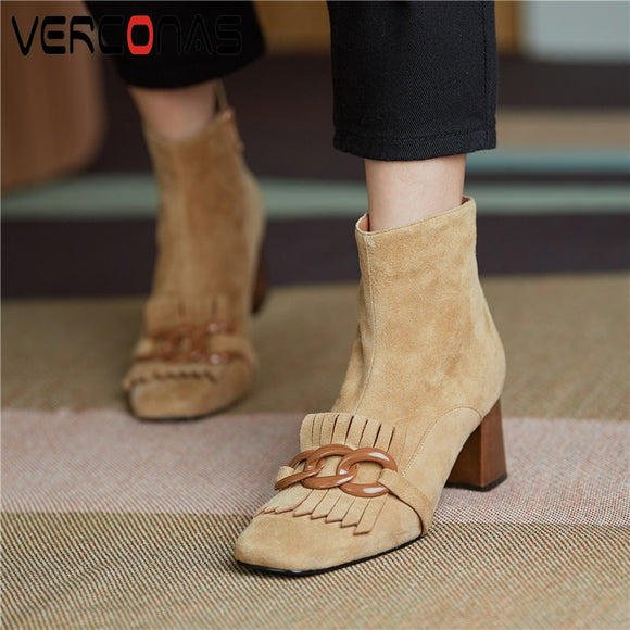 VERCONAS Autumn Winter Women Ankle Boots Kid Suede Shoes Woman Square Toe Chain Side Zipper New Office Thick Heel Boots