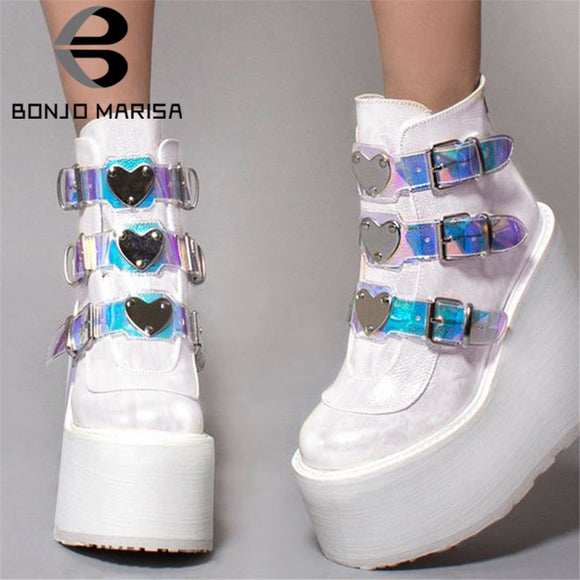 BONJOMARISA INS Hot Brand High Platform Ankle Boots Women Fashion PVC Strap Decorating High Wedges Shoes Woman