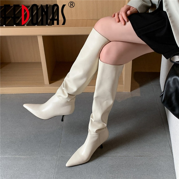FEDONAS Top Quality Genuine Leather Knee High Boots Leather Concise Female Pointed Toe High Heels Pumps Party Shoes Woman