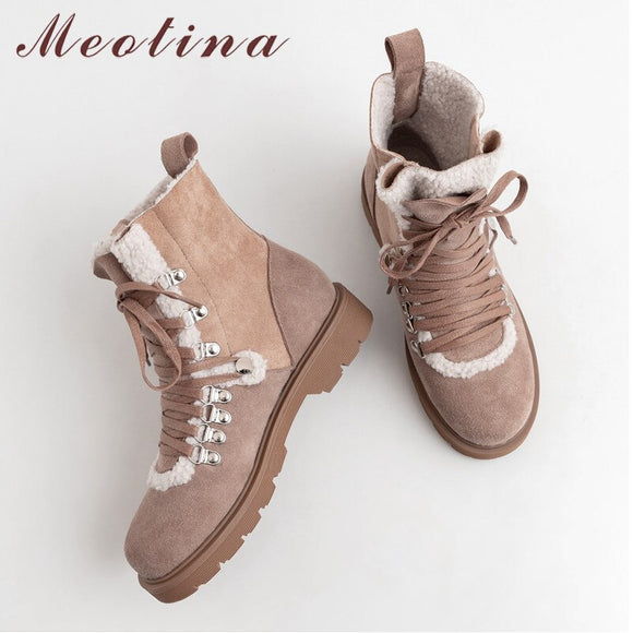 Meotina Real Leather Snow Boots Women Cow Suede Plush Flat Ankle Boots Lace Up Round Toe Shoes Lady Winter Big Size 33-42
