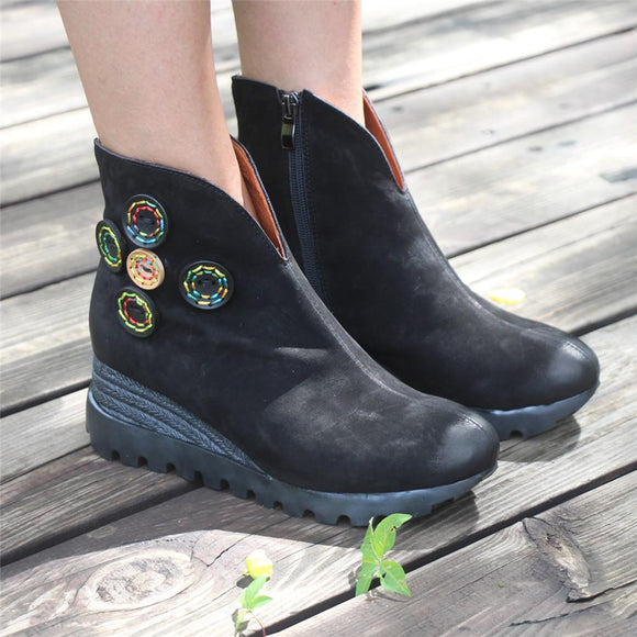Retro Nubuck Boots For Womens Leather Platform Boots Black/Coffee