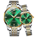 OLEVS Original Automatic Mechanical Watch Fashion Luminous Calendar Inlaid with Roman Scale Waterproof Watch for Men and Women