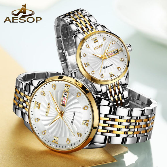 Couple Automatic Mechanical Wristwatch Waterproof with Double Calendar Luxury Business Casual Style Men and Women's Clock