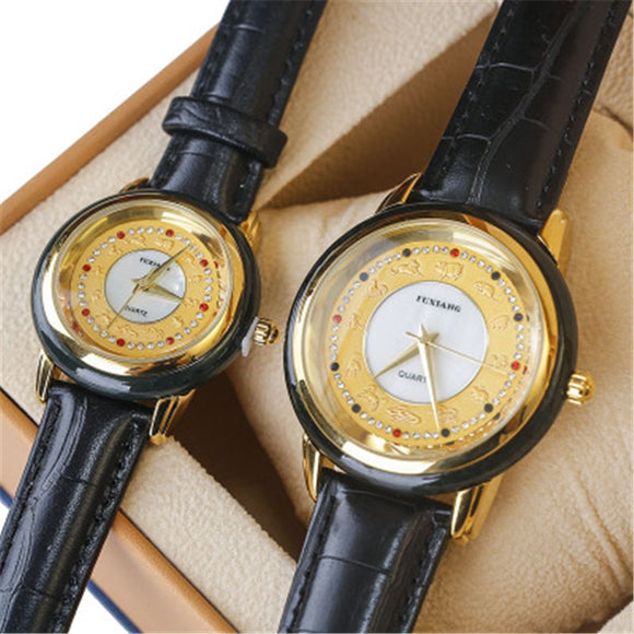 NATURAL HOTAN JADES STONE LEATHER MEN'S WATCH WATERPROOF QUARTZ FASHION JADE WOMEN WATCH COUPLE CLOCK SIMPLE BUSINESS WRISTWATCH