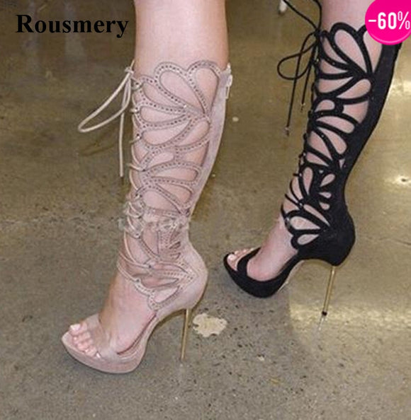 Women Charming Design Open Toe Lace-up Rhinestone Knee High Gladiator Stiletto Heel Sandal Dress Boots