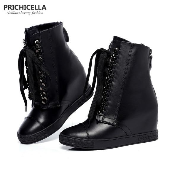 PRICHICELLA Silver Chained Lace-Up Wedge Ankle Boots Genuine Leather Winter Boots for Women