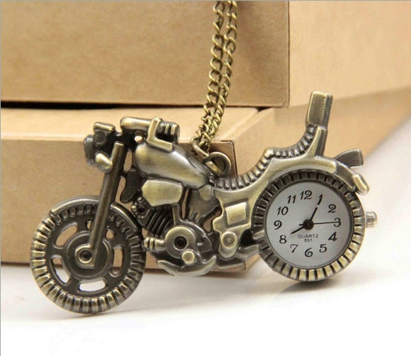 New Bronze Vintage Retro Motorcycle Motorbike Pocket Watch Necklace Pendant Women Quartz Watches relogio
