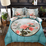 Luxury Classical Chinese Style Bedding Set 4pcs 100% Pima Cotton Blue and White Porcelain Duvet Cover Bed Sheet 2 Pillowcase