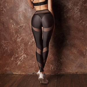 New Hotsale Women Hollow Net Leggings Patchwork Trangle Shape Black Fitness Workout Drop Shipping Leggings