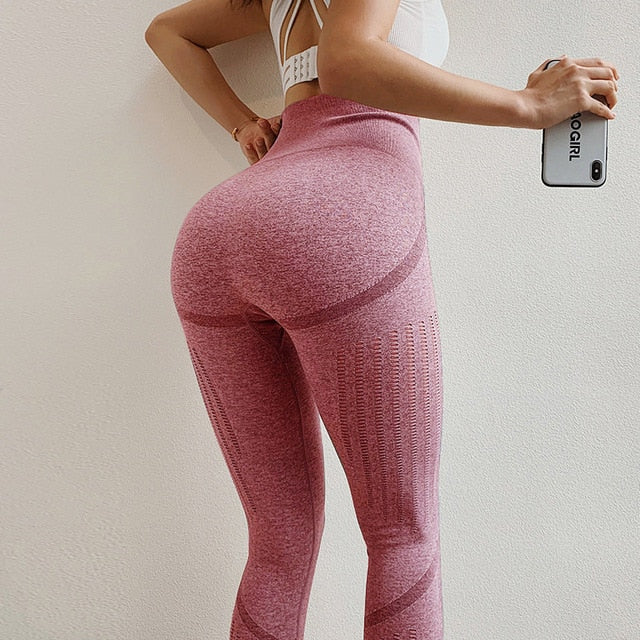 Seamless Hollow Tights Women High Waist Elastic Sports Leggings Training Breathable Yoga Pants Gym Leggings Work Out Active Wear