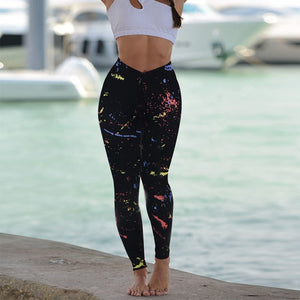 Women High Waist Exercise Pants Seamless Leggings Sport Print Buttock Lift The Hip Fitness Workout Sport Gym Trousers #4.8