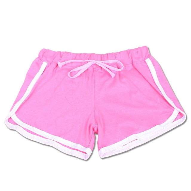 2019 New Women's Cotton Gym Shorts Summer Elastic Waist Fitness  Running Shorts Sport Breathable Beach Egde Slim Workout Clothes