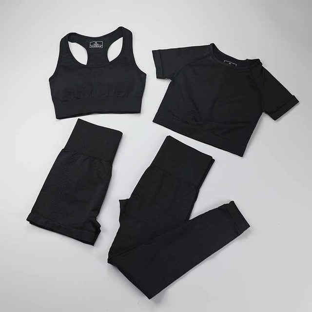 Seamless Leggings+Short Sleeve Crop Top+Sports Bra+Sport Shorts 4 Pieces Yoga Set Sports Wear For Women Gym Clothing Sports Suit