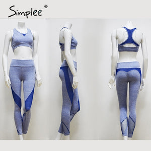 Simplee backless slim high fashion women gym clothing high waist feminino gray jumpsuit ladie casual work out clothes set 2020