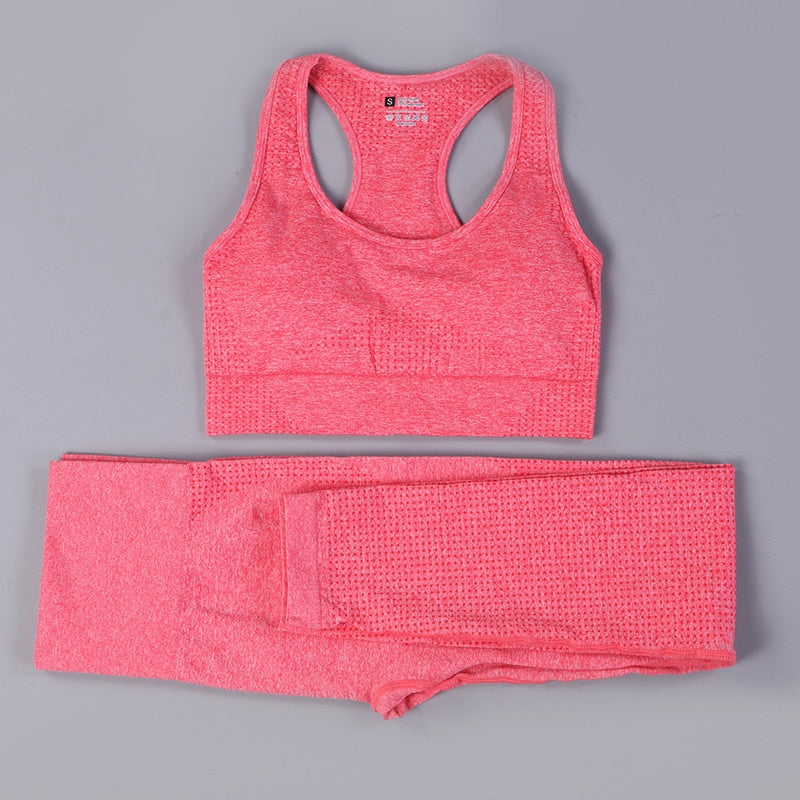 Sexy Sports Suits Seamless Yoga Set Women Fitness Clothing Sportswear Woman Gym Leggings Padded Push-up Strappy Sports Bra