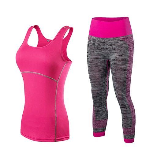 yuerlian Ladies Sports Running Cropped Top 3/4 Leggings Yoga Gym Trainning Set Clothing workout fitness women yoga suit