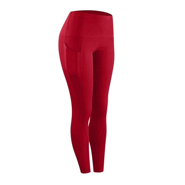 High waist sports legging with pocket for women fashion new female workout stretch Yoga pants plus size Elastic fitness leggings