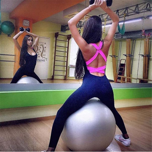 2020 One Piece Sport Clothing Backless Sport Suit Workout Tracksuit For Women Running Tight Dance Sportswear Gym Yoga Women Set