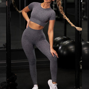 Shirts Legging Work-out Suit 2 Piece Sports Short Sleeve Crop Top High Waist Running Legging Set Gym Clothing Fitness Tracksuit
