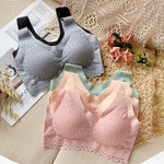 5D Wireless Contour Bra Lace Breathable Underwear Seamless Stretchy for Sports Yoga Running Bra Sports Bras yoga top vest