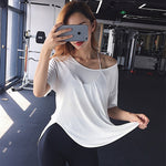 Women Yoga Top Solid Color Loose Gym Sport Shirt Breathable Sport Running Short Sleeve Work Out Fitness Training Top