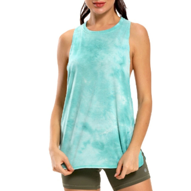 NWT Tie Dye Racerback Loose Tank Activewear Running Workouts Clothes Yoga Tank Tops Stretch Blouse Gym Tank Sleeveless Shirts