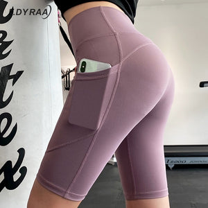 Women Gym Shorts Women High Waist Lifting Push Up Tight Sports Leggings Phone Pocket Jogging Running Fitness Yoga Shorts Pant