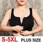 S-5XL Hot Sports Top Yoga Bra Women Shockproof Gym Shirt Sports Bra Front Zipper Big Lady Push Up Brassiere Sportswear Plus Size