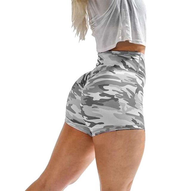 Fashion Women's Camouflage Workout Shorts Scrunch Booty Gym Yoga Shorts Ladies Elastic High Waist Fitness Sports Casual Short
