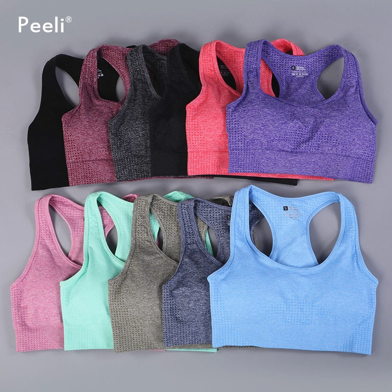 Peeli Vital Seamless Sports Bra for Women Gym Crop Top Padded Yoga Bra Fitness Push Up Workout Brassiere Sport bh Active Wear