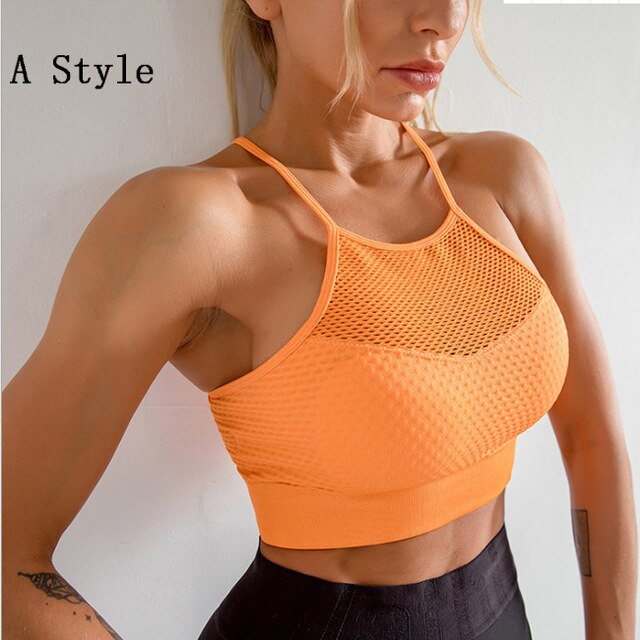 2020 New Seamless Sports Bra Top Fitness Women Racerback Running Crop Tops Orange Workout Padded Yoga Bra High Impact Activewear
