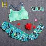Women Tracksuit Sportswear Outdoor Running Workout Fitness Top Bra Sports Leggings Yoga Set Lady Gym Clothes Suit Free Headband