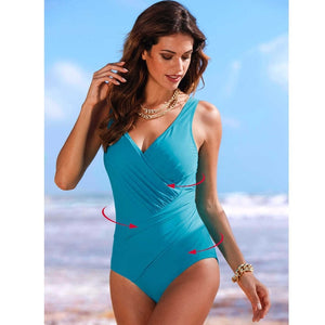 Swimwear 2020 New One Piece Swimsuit Women Plus Size Swimwear Retro Vintage Bathing Suits Beachwear Solid Swim Wear Monokini 4XL