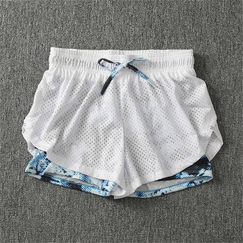 Double-deck Women Cotton Mesh Short Pants Work-out Two Layer Fitness Fold Short Pants Cool Wear Drawstring Clothing