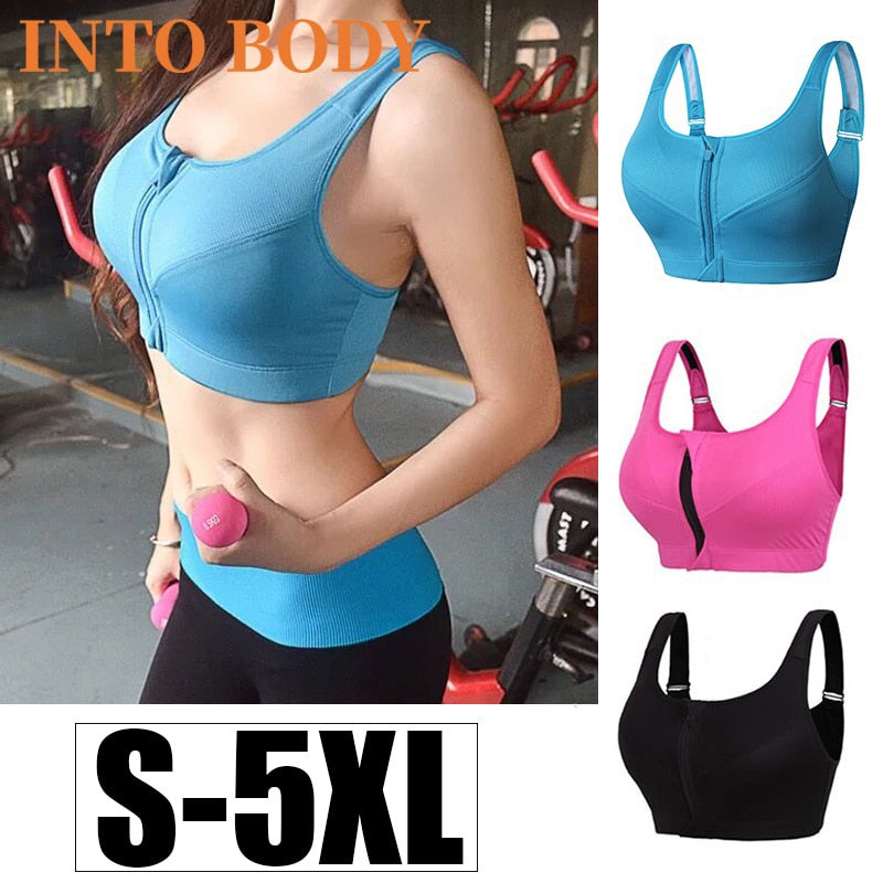Of Women's Sports Bra Gathered Without Steel Ring Yoga Running Vest Fitness Front Zipper Sexy Shockproof Underwear Plus Size