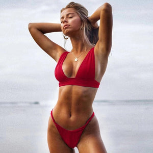 New Sexy Bikini 2021 Solid Swimsuit Women Swimwear Push Up Bikini Set Brazilian Bathing Suit Summer Beach Wear Swimming Suit XL