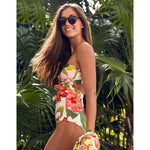 One Piece Swimsuit Bandeau Swimwear Women 2021 Print Bow Monokini Push up Backless Bathing Suits Floral Sexy Bodysuit Beachwear