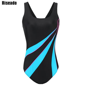 Riseado Sports One Piece Swimsuit 2021 Competition Swimwear Women Patchwork Swimming Suits for Women Racerback Bathing Suits