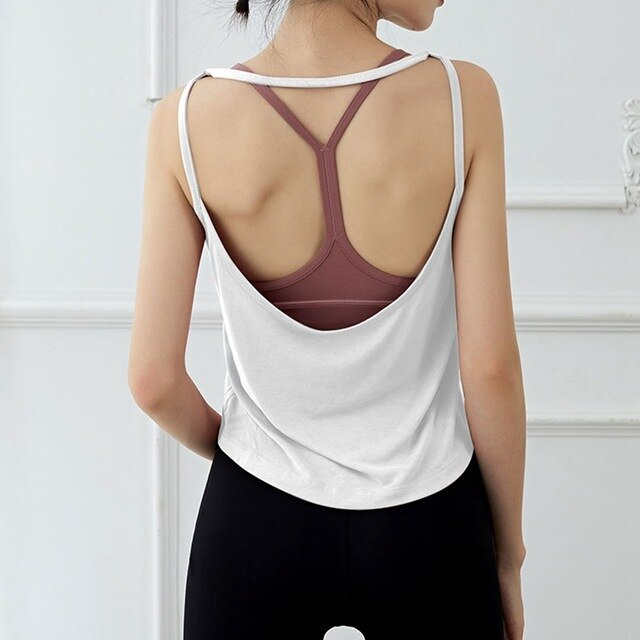 Women Yoga Top Sexy Activewear Backless Fitness Racerback Tank Tops Shirts Workout Tops