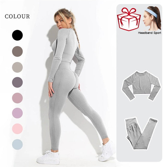 Seamless Yoga Set Workout Clothes For Women Sports Gym Set Fitness Clothing Long Sleeve Yoga Suit