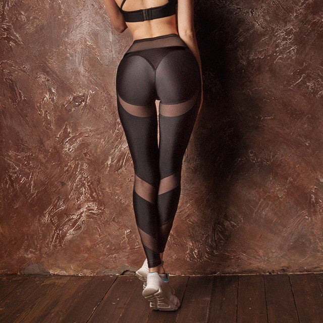 Drop Shipping Women Hollow Net Leggings Patchwork Trangle Shape Black Leggings